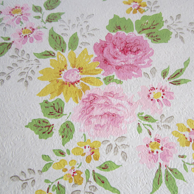 Vintage WALLPAPER Bouquets Of PINK ROSES